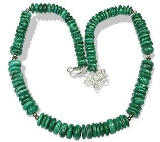 Green Malachite Bali Silver Beaded Classic Necklaces 15 Inches