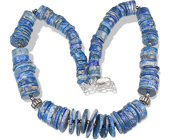 Blue Lapis Lazuli Bali Silver Beaded Necklaces 16 Inches
