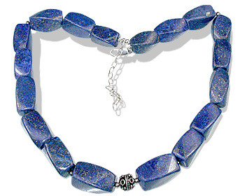 Blue Lapis Lazuli Bali Silver Beaded Chunky Necklaces 15 Inches