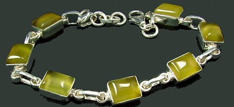 Yellow Chalcedony Silver Setting Art-deco Bracelets 7.5 Inches