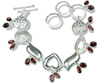 Gray Red Garnet Silver Setting Contemporary Bracelets 8 Inches