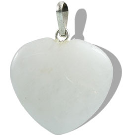 SNOW QUARTZ BEADED WHITE HEART PENDANTS