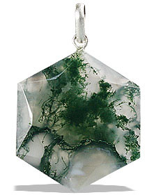 Green White Moss Agate Beaded Pendants 1 Inches