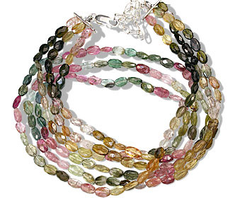 Multi-color Tourmaline Beaded Classic Necklaces 16 Inches