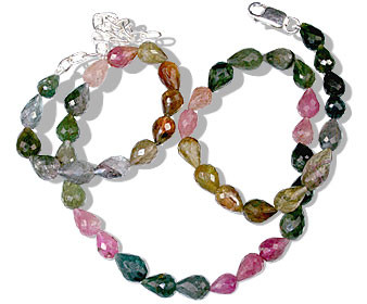 Pink Multi-color Tourmaline Beaded Classic Necklaces 16 Inches