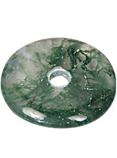 Green Moss Agate Beaded Donut Pendants 1 Inches