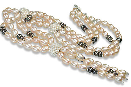 Gray White Pearl Hematite Beaded Classic Necklaces 16 Inches