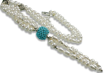 Blue White Pearl Turquoise Beaded Classic Necklaces 16 Inches