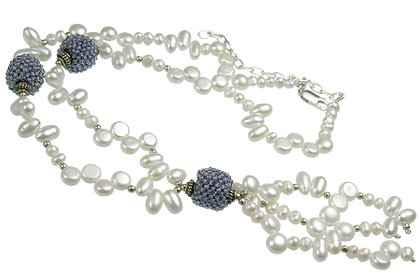 Blue White Pearl Iolite Beaded Classic Necklaces 15.5 Inches