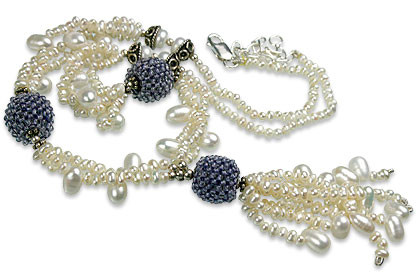 Blue White Pearl Iolite Beaded Classic Necklaces 16 Inches