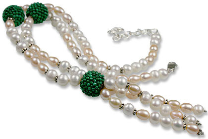 Pearl And Malachite Necklace 2