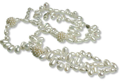 White Pearl Beaded Necklaces 15.5 Inches