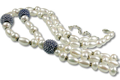 Blue White Pearl Iolite Beaded Classic Necklaces 16.5 Inches