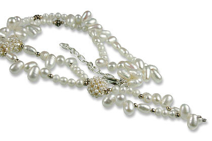 White Pearl Beaded Necklaces 16 Inches
