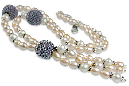 Blue White Pearl Iolite Beaded Necklaces 16 Inches
