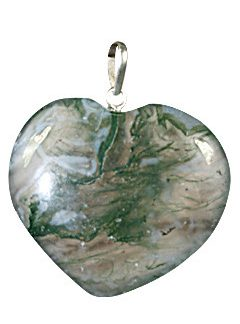 Green Moss Agate Beaded Heart Pendants 1 Inches