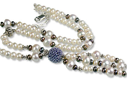 Black Blue White Pearl Iolite Beaded Necklaces 15 Inches
