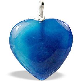 Blue Onyx Heart Peandant (1″)