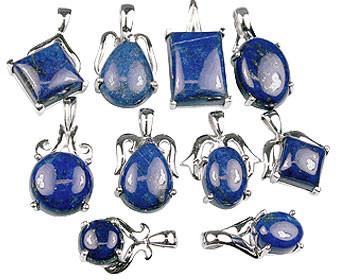 Blue Bulk Lots Lapis Lazuli Silver Setting Pendants 1 Inches