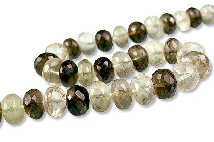 Brown Green Yellow Lemon Quartz Beaded Faceted Beads 10 Inches