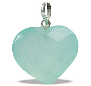 Petite Faceted Aqua Onyx Heart Pendant