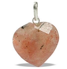 Orange Sunstone Beaded Heart Pendants 0.75 Inches