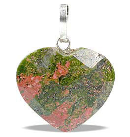 Petite Faceted Unakite Heart Pendant