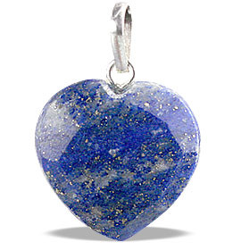 LAPIS LAZULI BEADED BLUE HEART PENDANTS