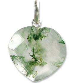 Petite Faceted Moss Agate Heart Pendant