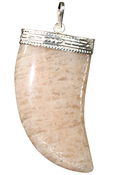 Peach Moonstone Bear Claw Pendant