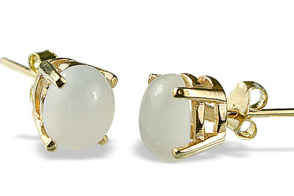 White Vermeil Moonstone Gold Plated Post Earrings 0.2 Inches