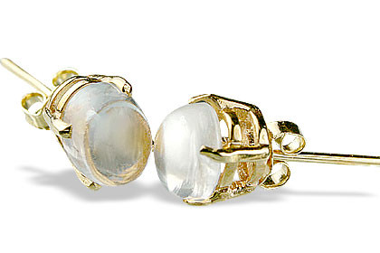 White Vermeil Crystal Gold Plated Post Earrings