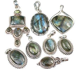 Blue Green Gray Bulk Lots Labradorite Silver Setting Pendants