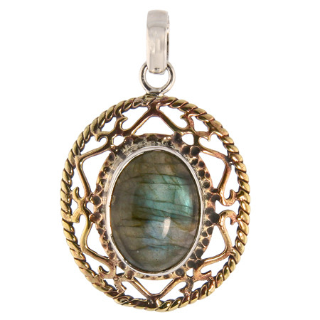 Brass And Silver Lace Labradorite Pendant