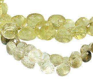 Faceted Petro Lemon Quartz Briolettes Beads (6-10mm)