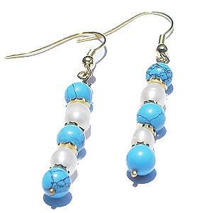 TURQUOISE BEADED BLUE,WHITE EARRINGS