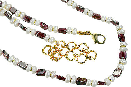 Red White Pearl Garnet Beaded Necklaces 15 Inches