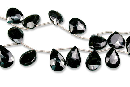 Black Black Spinel Beaded Faceted Beads 8.5 Inches