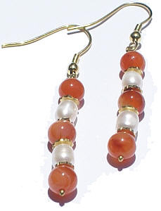 Orange White Carnelian Pearl Beaded Earrings 1 Inches