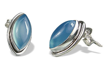 Blue Chalcedony Silver Setting Post Earrings 0.5 Inches