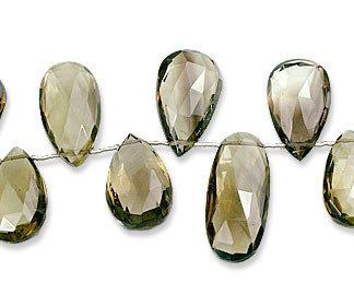 Faceted Petro Lemon Quartz Drop Beads 16-33mm)