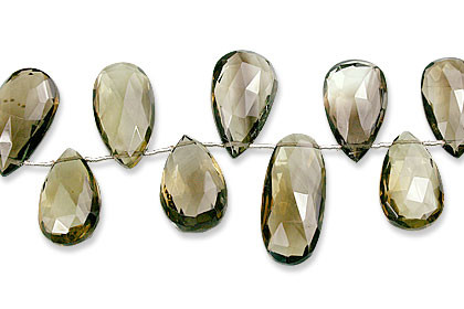 Faceted Petro Lemon Quartz Drop Beads 16-33mm)