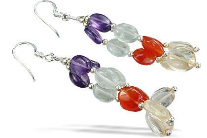 Multi-color Multi-stone Beaded Multistrand Earrings 2 Inches