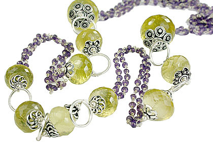 Amethyst Beaded Necklace With Lemon Quartz