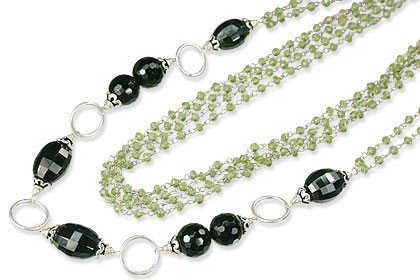 Faceted Peridot And Onyx Silver Necklace