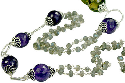 Brown Gray Purple Multi-stone Beaded Necklaces 40 Inches