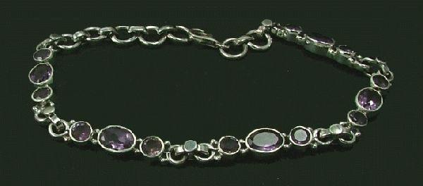 Purple Amethyst Silver Setting Bracelets 8 Inches
