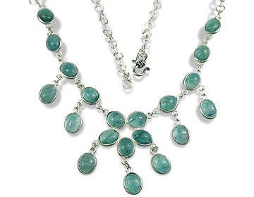 Blue Green Fluorite Silver Setting Necklaces 19 Inches