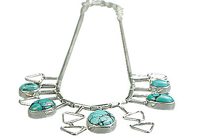 Black Blue Turquoise Silver Setting Necklaces 16 Inches