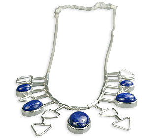 Blue Lapis Lazuli Silver Setting Necklaces 16 Inches